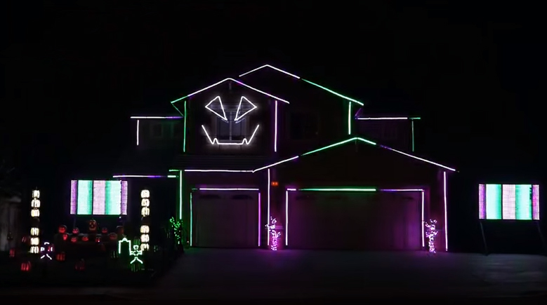 here is a house decked out with lights that do some groovy stuff to the ghostbusters theme song by creative lighting displays which is famous for their - Who Wrote The Halloween Theme Song